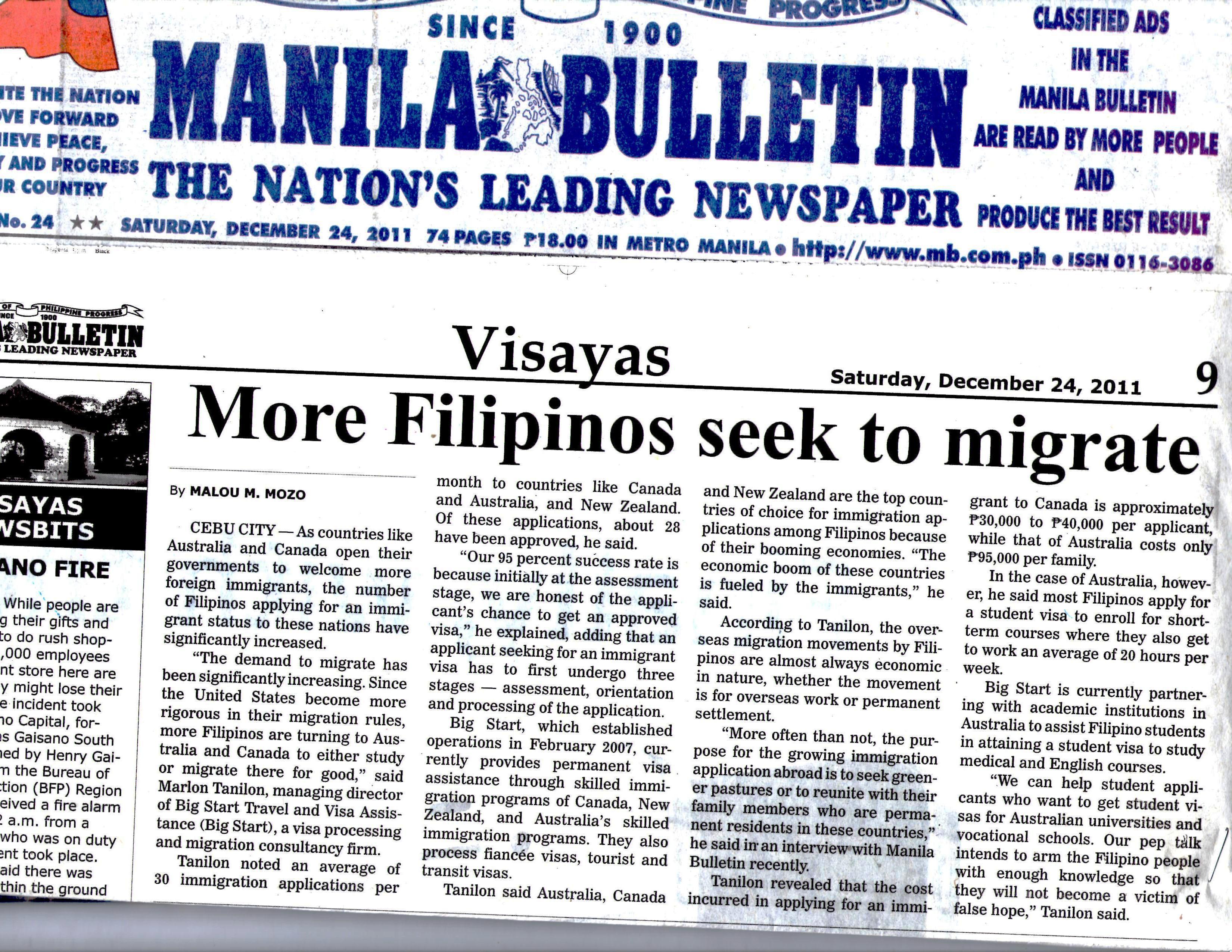 More Filipinos seek to migrate